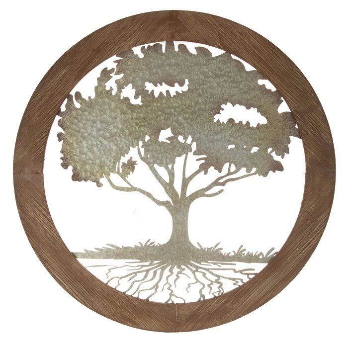 Round Wood Metal Tree Wall Decor