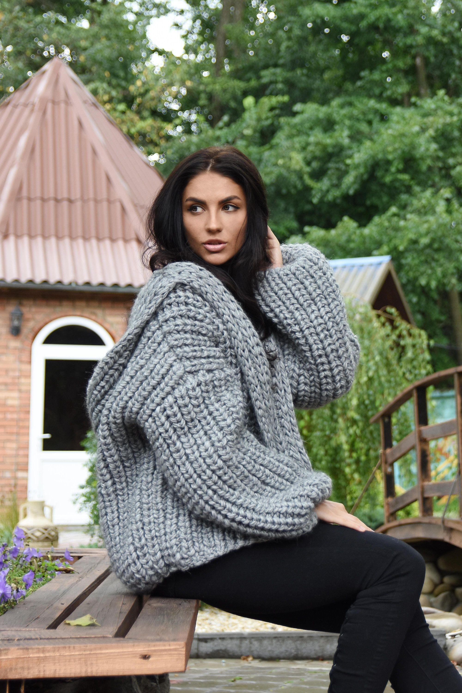 Hooded Bomber jacket Chunky knit oversized cardigan Alpaca