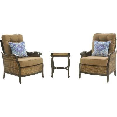 Hanover Hudson 3 Piece Patio Square Lounge Set With Teak Cushions
