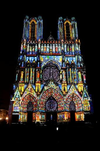 Cathedral of Reims.  The light show at night was incredible.