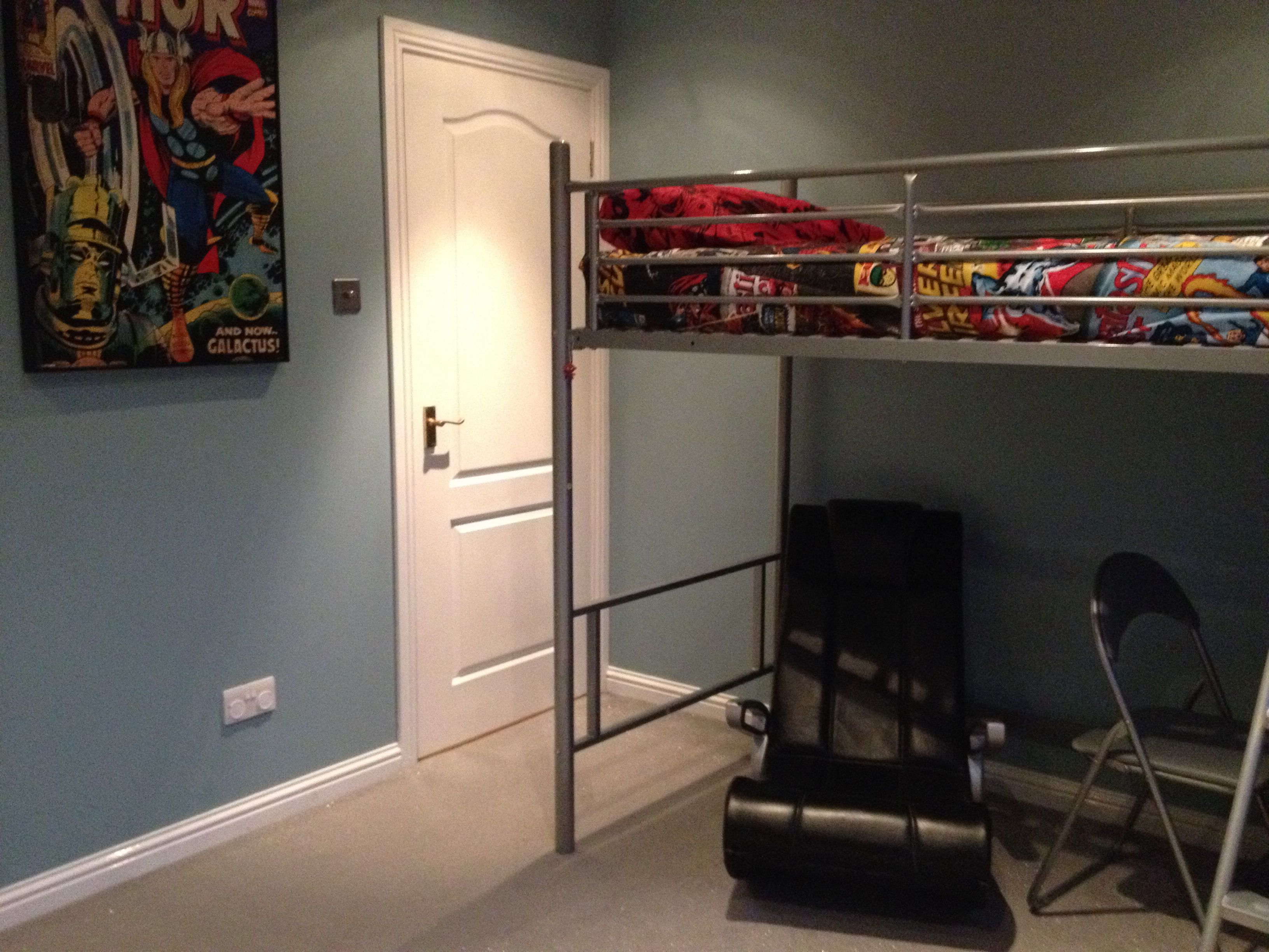 ikea loft bed and gaming chair completed 10 year old boys marvel bedroom pinterest ikea. Black Bedroom Furniture Sets. Home Design Ideas