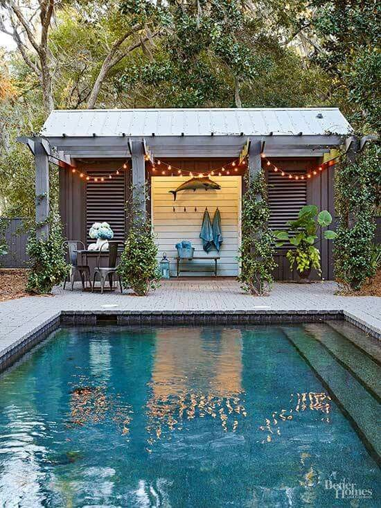 Great inspiration for a poolside Tuff Shed changing room! It would be great to add a little bar off to the side too.
