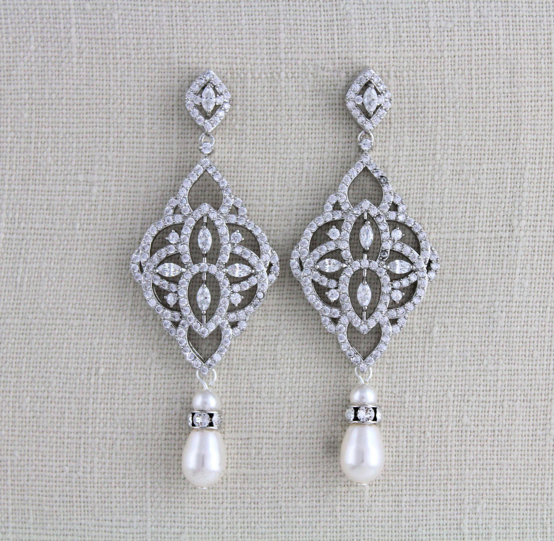 Crystal /& Pearl Bridal Earrings EMILY Wedding Jewelry Deco Bridal Jewelry Gold Wedding Earrings