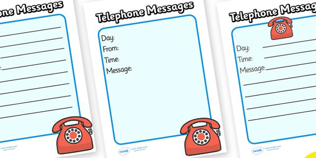 Twinkl Resources Travel Agents Telephone Message Sheets