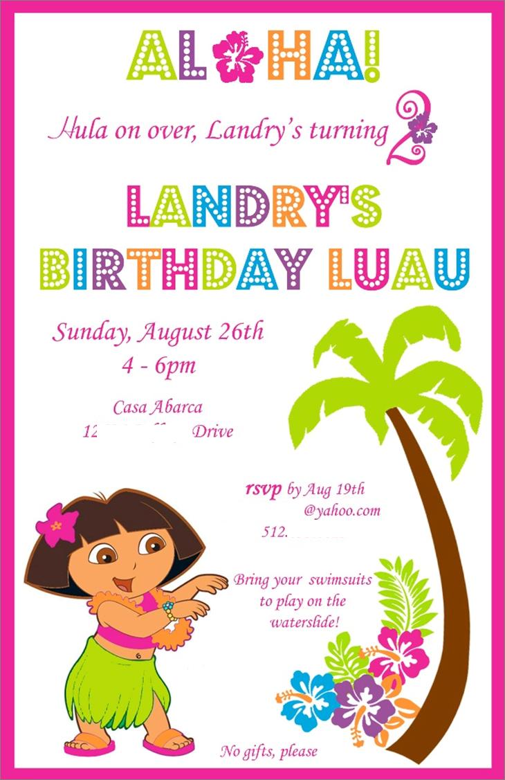 Dora Luau 2nd birthday invitation | LJ\'s 2nd Birthday Party - Dora ...
