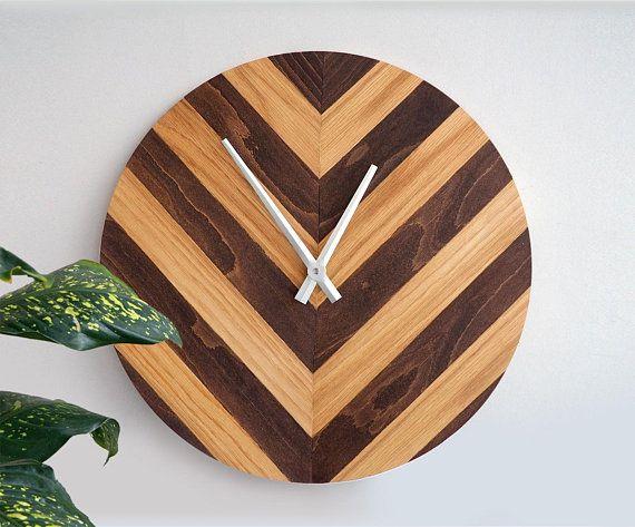 Oak Wall Clock Large Wood Home Decor