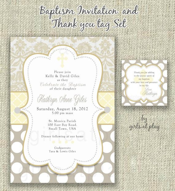 Modern Baptism Invitation Invite Favor Tag Set Girl By Girlsatplay