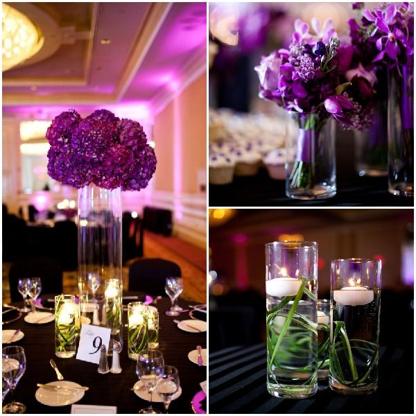 Purple Green Wedding Centerpieces Carmen Ash Photography