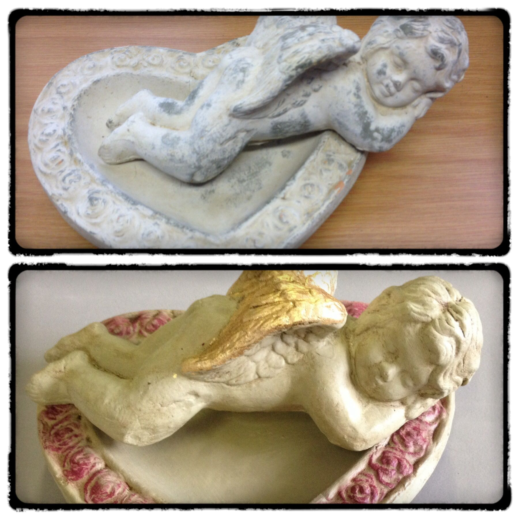 Concrete transformed to an angel with versailles gold leaf and dark