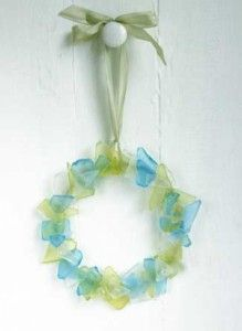 Sea Glass Wreath: Watery blue, green, & clear shades of a collection of translucent sea glass create a coastal vibe / Matthew Mead: Summer projects and a live chat with Matthew...