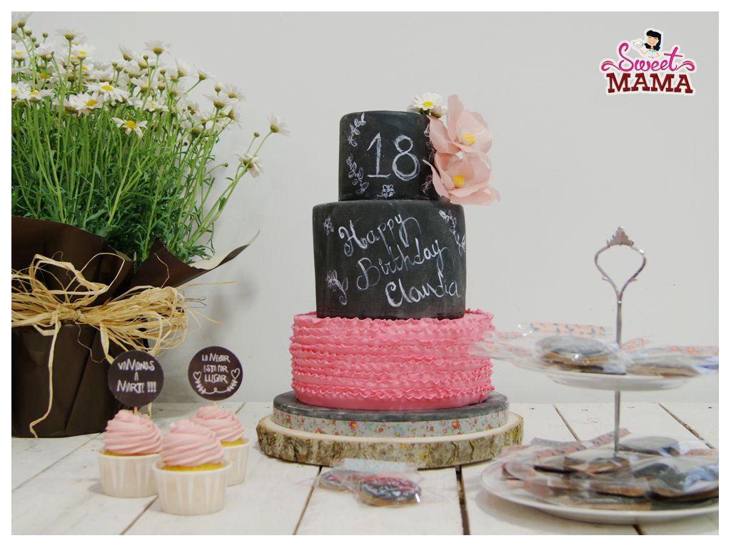 Sweetmama tarta galletas cupcakes efecto pizarra 18 - Ideas para cumpleanos 18 ...