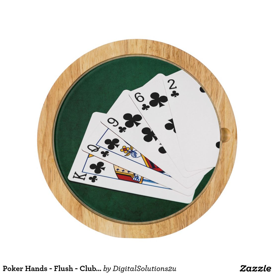 Poker Hands - Flush - Clubs Suit Round Cheese Board