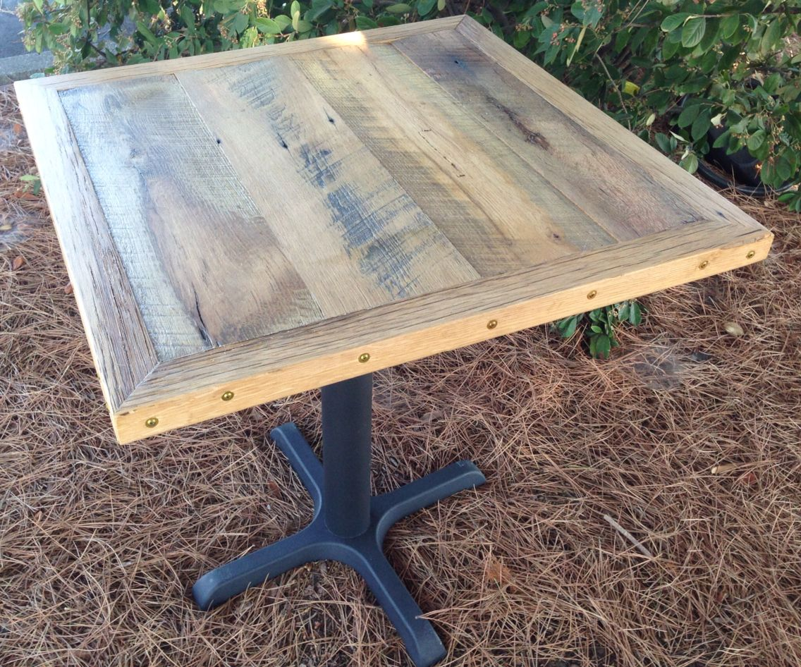 Reclaimed Wood Restaurant Table Top | Wire Brushed Oak - Reclaimed Wood Restaurant Table Top Wire Brushed Oak Reclaimed