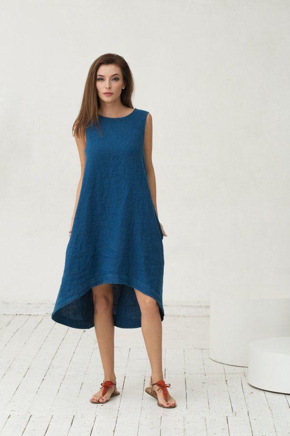 9766bae22f Linen dress by MagicLinen in Navy Blue.