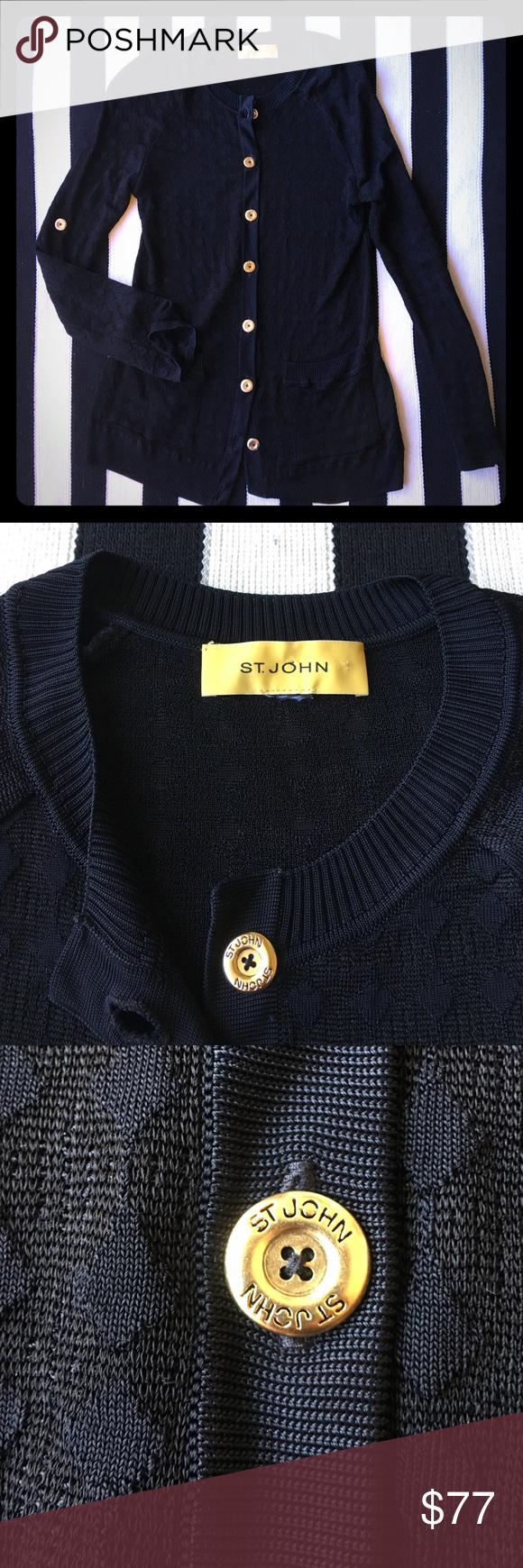 St John Textured black & gold button up cardigan | Black gold ...
