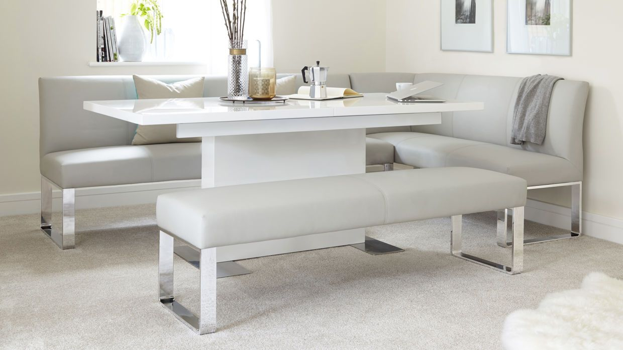 Sanza White Gloss And Loop 5 Seater Left Hand Corner Bench Dining Set Corner Bench Dining Table Corner Bench Dining Set Corner Dining Table