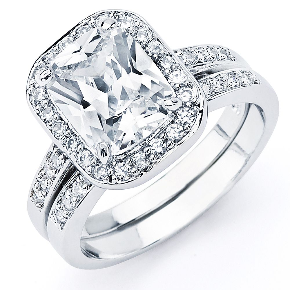Oliveti Sterling Silver Radiant Cubic Zirconia Bridalstyle Ring Set