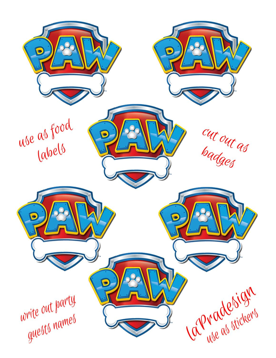 Paw Patrol Birthday Party Badge PDF file by laPradesign on
