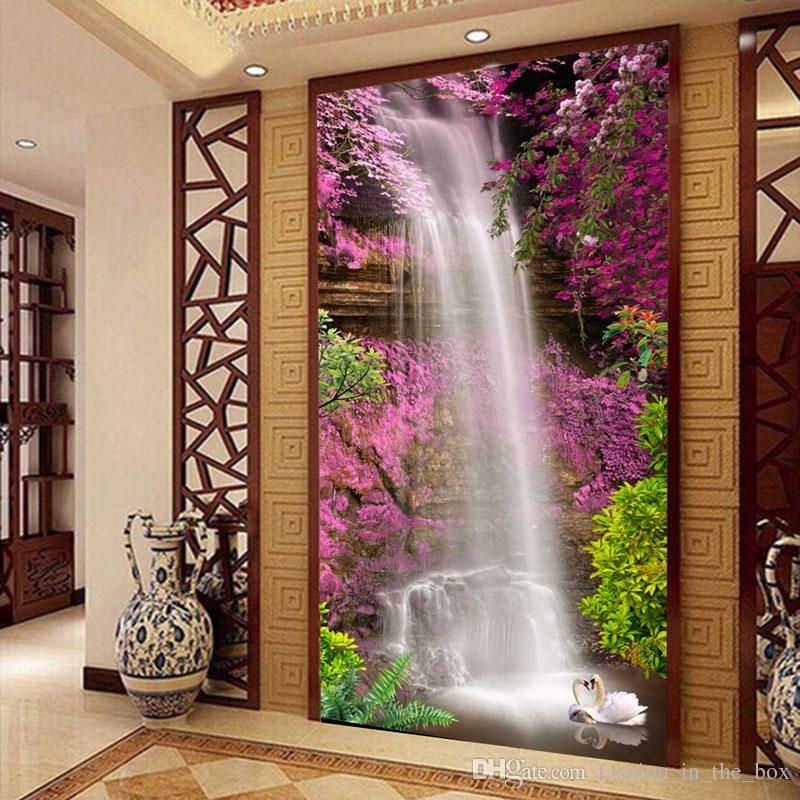 Charmant Waterfall Swan Photo Wallpaper Custom 3d Wallpaper Natural Landscape Wall  Mural Flowers Door Art Room Decor