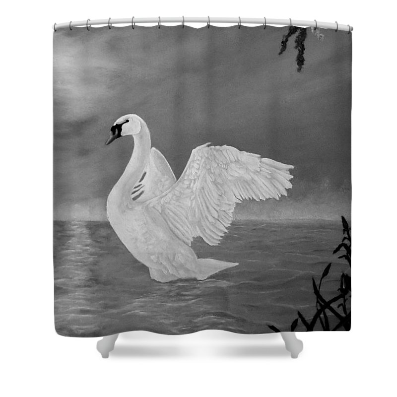 Swan Shower Curtain Featuring The Painting Lake Dancer By Faye Anastasopoulou In 2020 Painting Art Fine Art