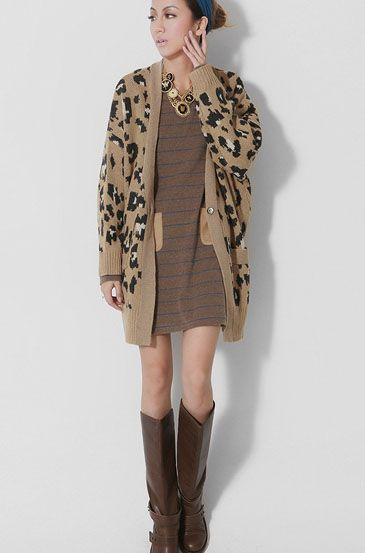 Leopard Cardigan Casual Straight Wool Sweater | Fashion ...
