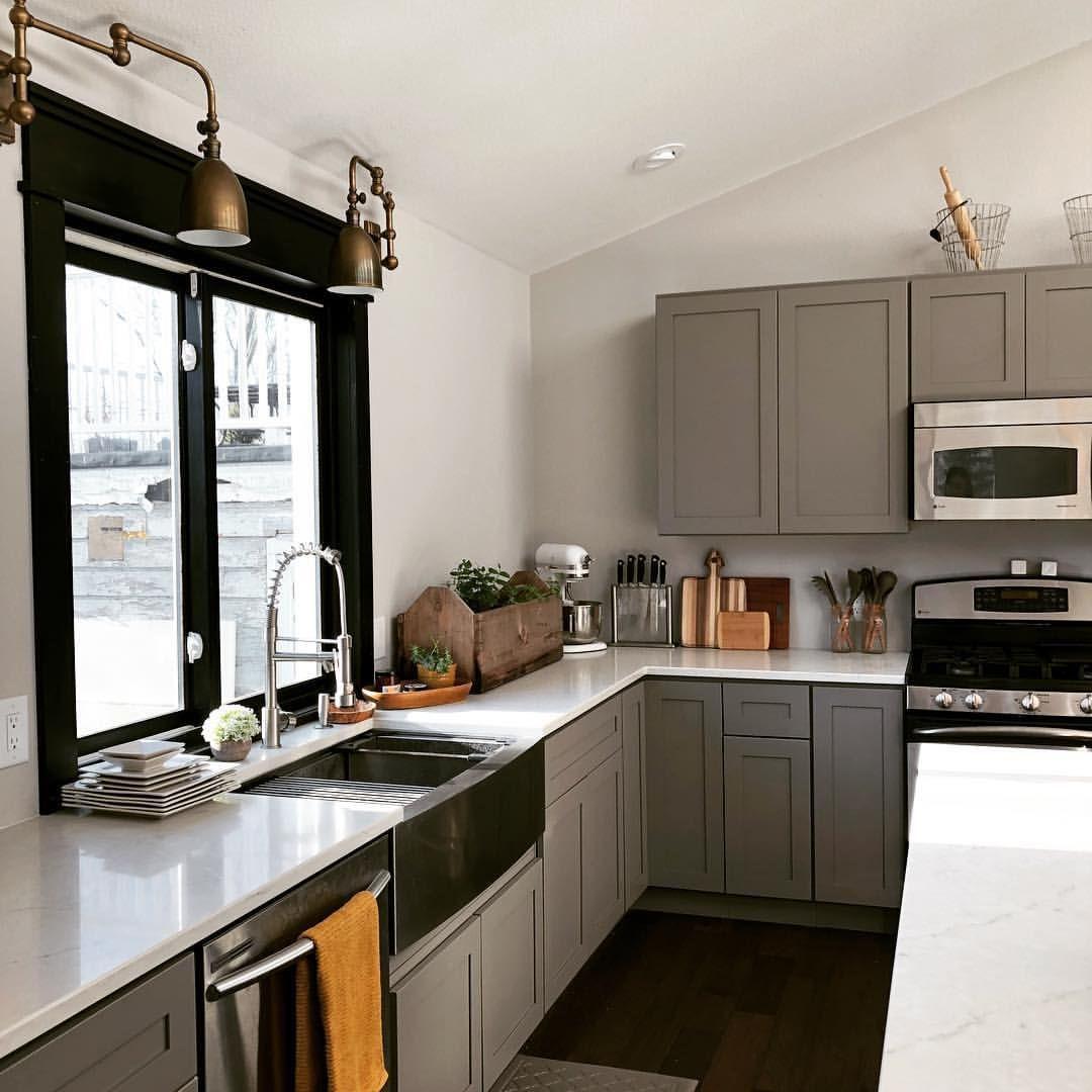 Wisconsin Farmhouse Kitchen Addition Grey Cabinets Marble Look Quartz Countertops Now To Add Subway Tile Backspl Kitchen Inspirations Kitchen Addition Kitchen