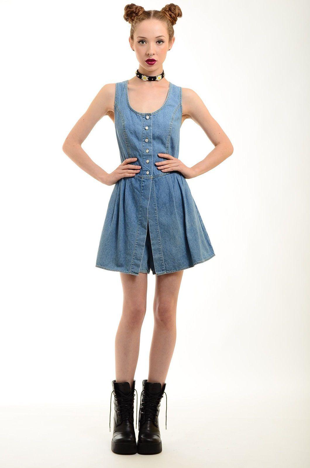 60fc760d9d Vtg 80s 90s Faded Denim Grunge Jean Shorts Romper Mini Dress Overalls Jumper  M