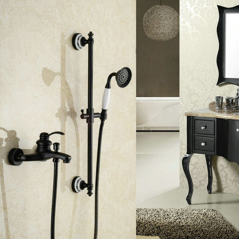 Oil Rubbed Bathroom Black Bronze Finished Shower Set Mixer Tap Wall ...
