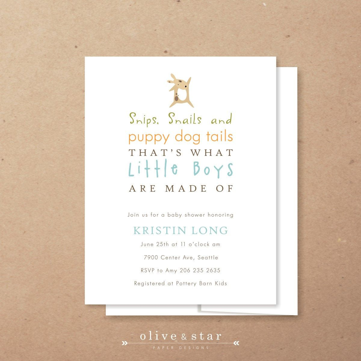 Snips Snails And Puppy Dog Tails Baby Shower Invitation Set Kids Birthday Boy Nursery Rhyme Note Card Modern