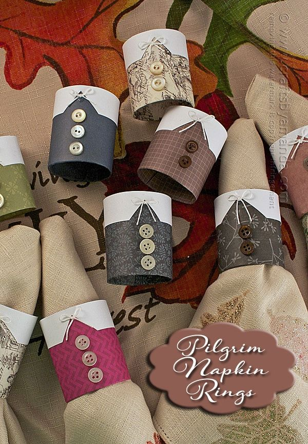 Pilgrim Thanksgiving Napkin Rings by Amanda Formaro of Crafts by Amanda #napkinrings