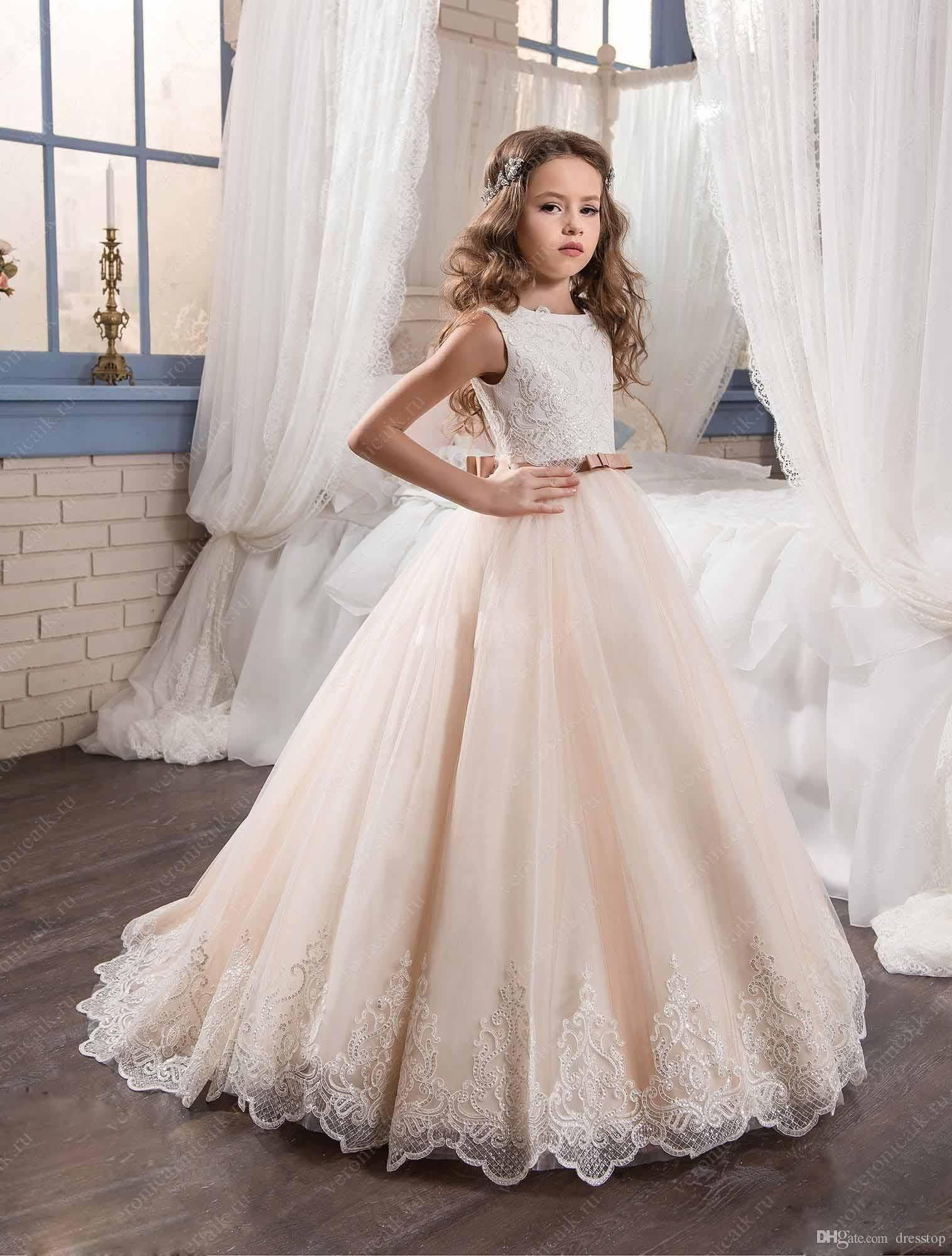 Lace dress gown  Cheap Lovely Lace Appliqued Flower Girl Dresses Special Occasion For