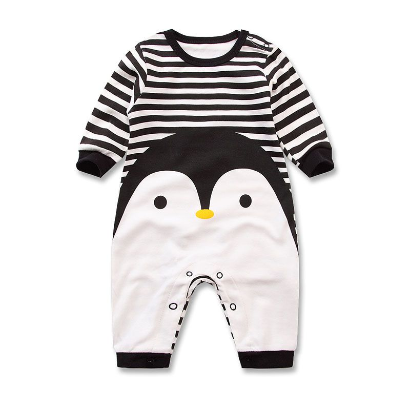 2017 Spring Autumn long sleeved Romper baby clothes children's clothes  cartoon Penguin baby animal girl jumpsuit
