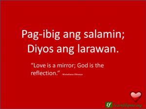 "English to Tagalog Love Quote: ""Love is a mirror; God is the ..."