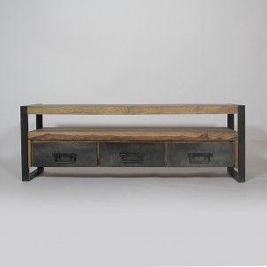 Meuble TV en Métal et Bois blanchi 3 niches 4 tiroirs Industry. Table Basse  ... 0d18e163c732