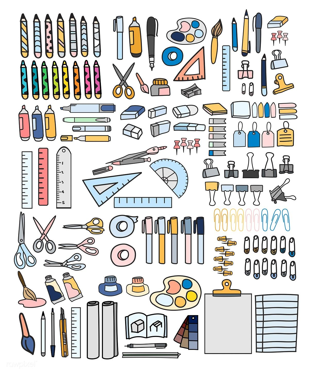 Vector set of stationery doodle style free image by