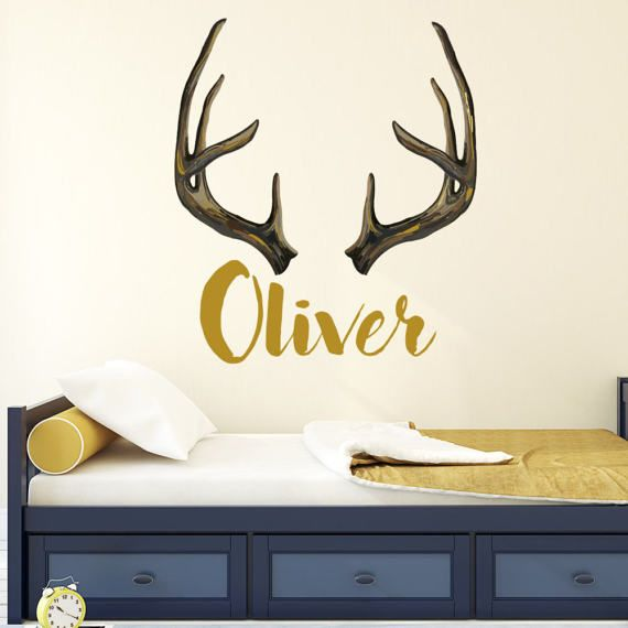 Personalized Hunting Wall Decal Rustic Nursery Decor Antlers   Hunting  Nursery Wall Decals