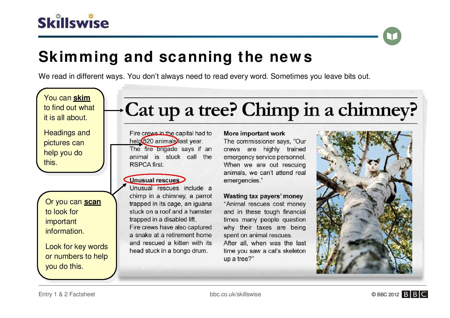 An Introduction To Skimming And Scanning A Newspaper Report