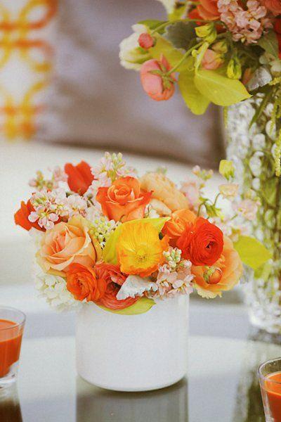 Orange Summer Wedding centerpieces    {GIDEON PHOTOGRAPHY}