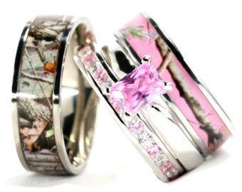 His And Hers Camo Wedding Ring Set Black Plated Titanium And