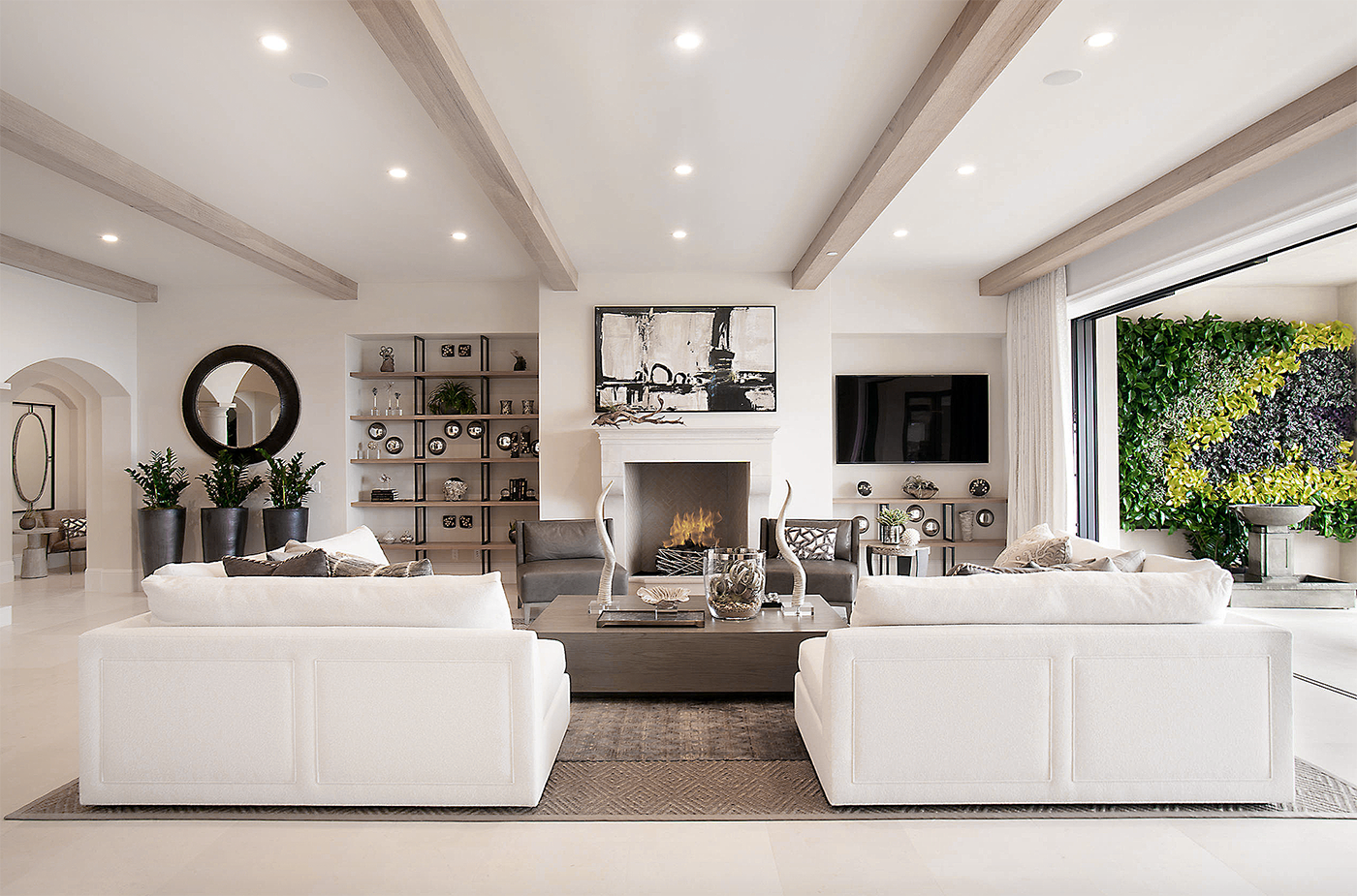 gorgeous transitional style all white living room decor