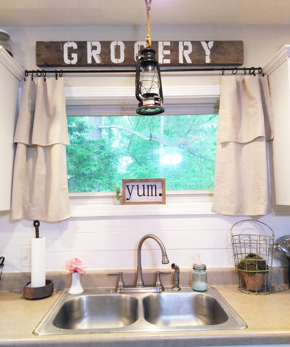 homeongrassyroad drop cloth curtains. Modern farmhouse kitchen ...