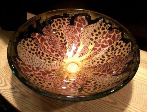 Animal Print !! Decorative Glass Vessel Sink Bathroom Basin Sink