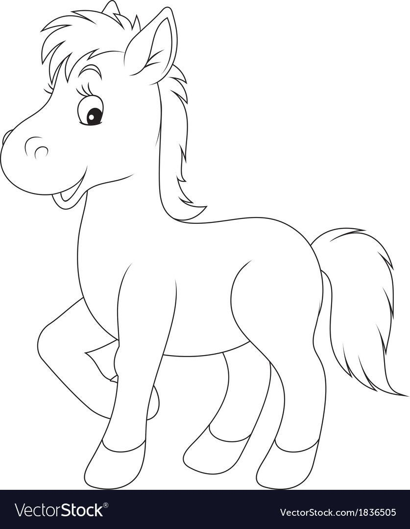 Little Foal Black And White Outline Illustrations Download A Free Preview Or H Farm Animal Coloring Pages Animal Coloring Pages Art Drawings For Kids