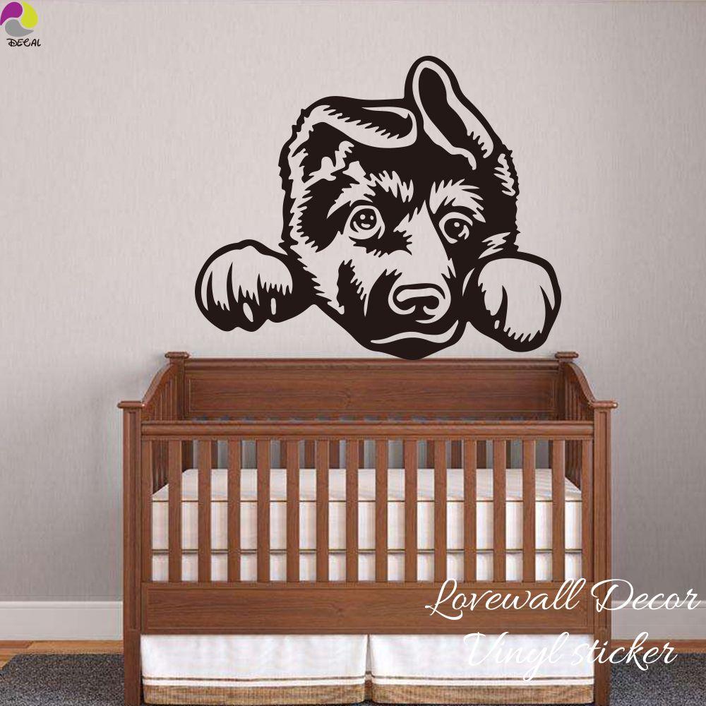 Best Cartoon German Shepherd Dog Wall Sticker Baby Nursery Kids 400 x 300