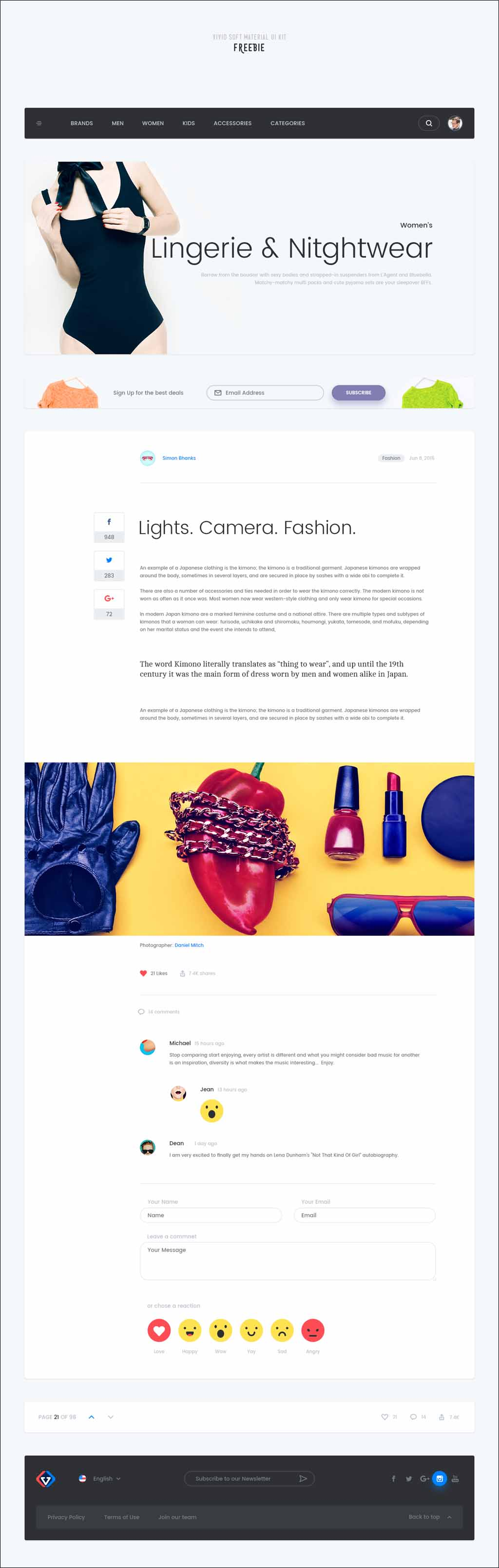 vivid soft material free psd ui kit web design etc pinterest