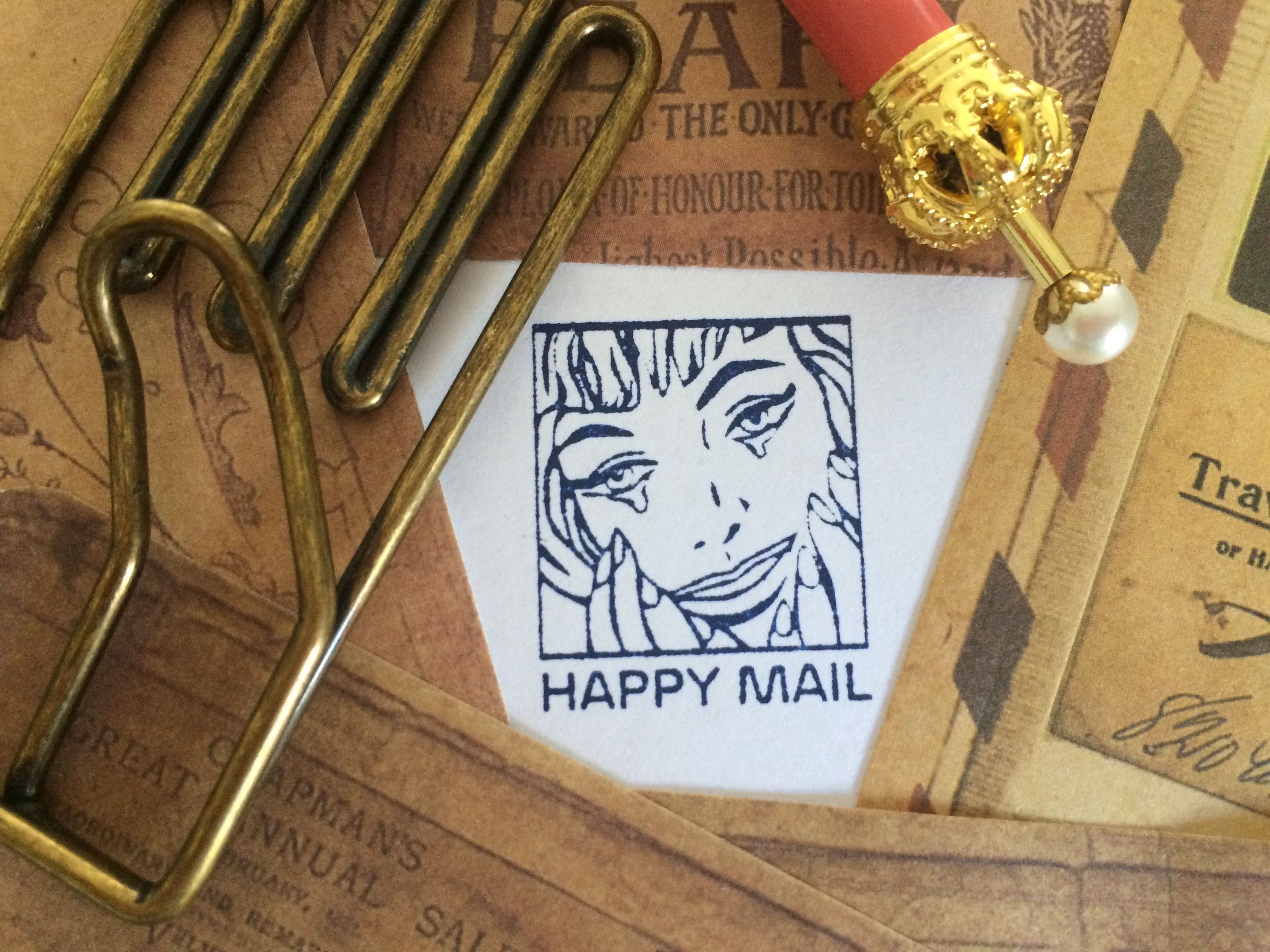 Happy Mail Stamp Pop Art Rubber Stamp Snail Mail Post Etsy Happy Mail Mail Stamp Stamp