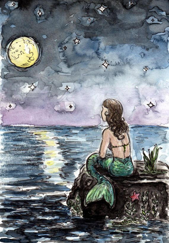 Mermaid And Full Moon With Stars By The Sea Fine Art Watercolor