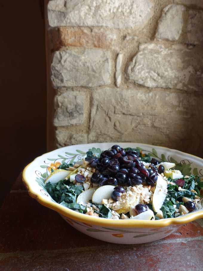 Kale, Pear and Grape Salad would make a perfect side at Thanksgiving.