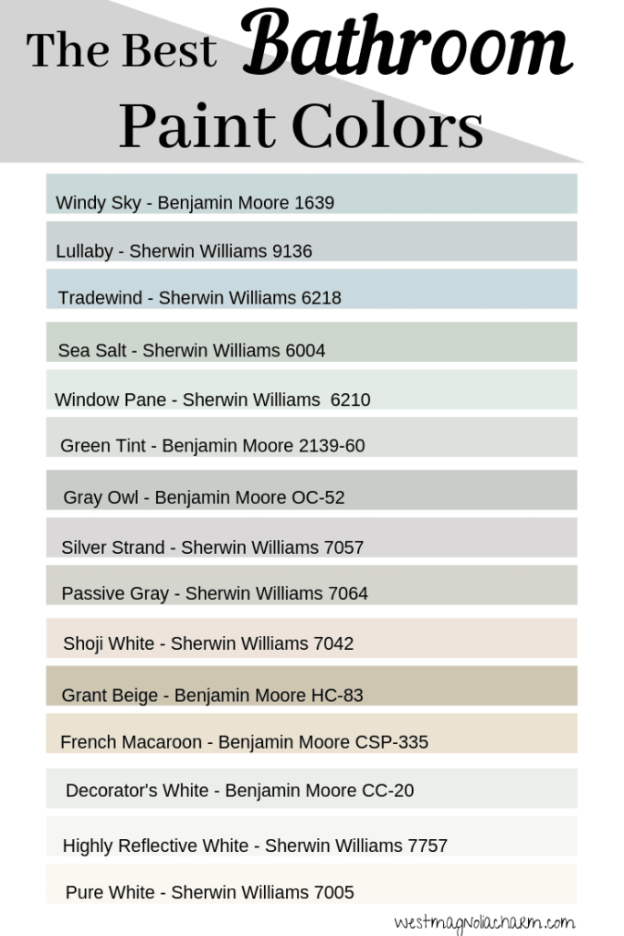 Photo of Spa Like Paint Colors for Bathrooms – West Magnolia Charm –  These Benjamin Moor…