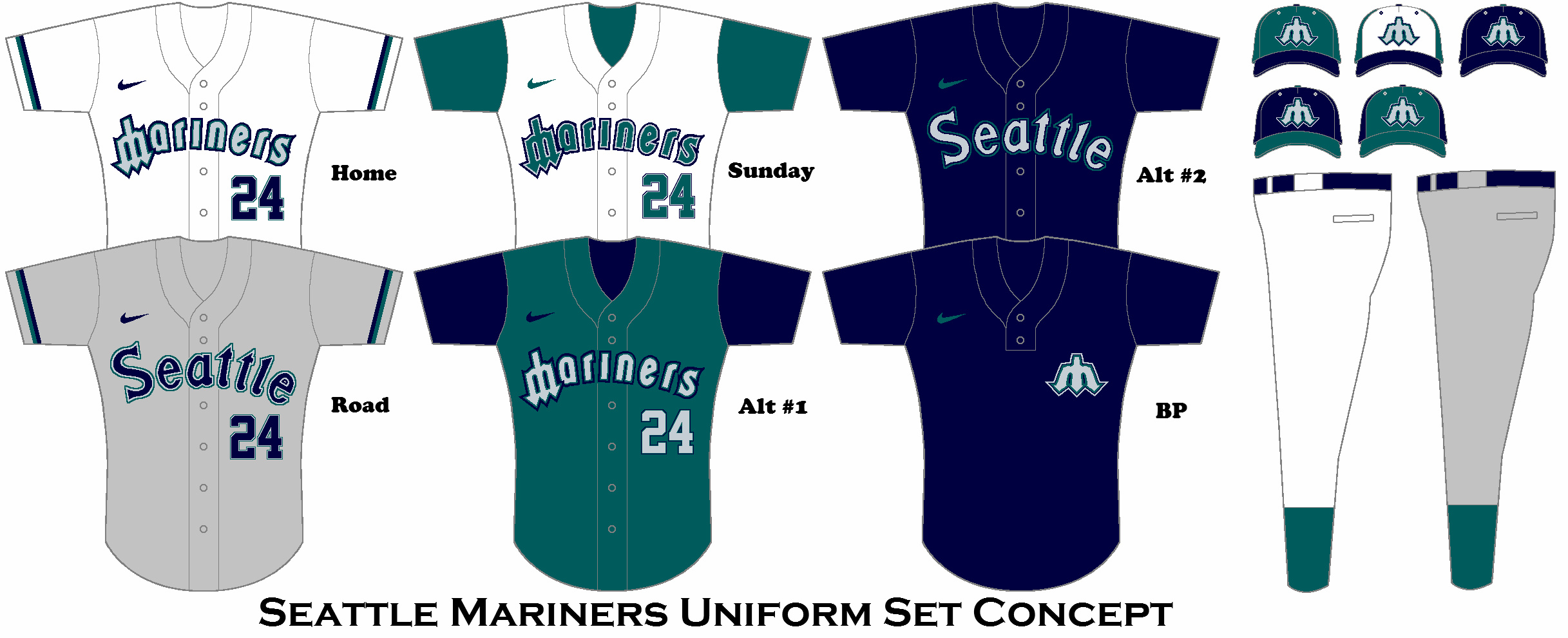 Seattle Mariners Uniform Set Concept Seattle Mariners Mlb Chicago Cubs Mlb Uniforms